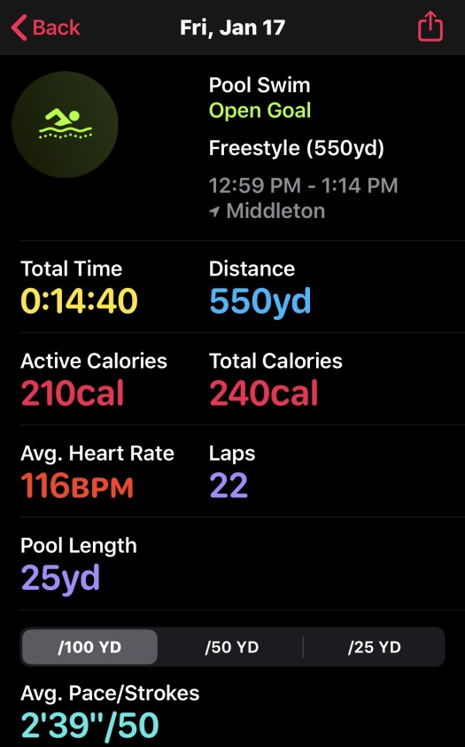 swim workout on 011720