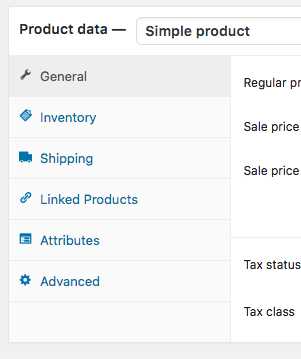 Screenshot showing the Shipping section of WooCommerce's Product Data box.