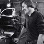 Len Fulton of Small Press Review in his print shop at Paradise, California, circa late 70s.