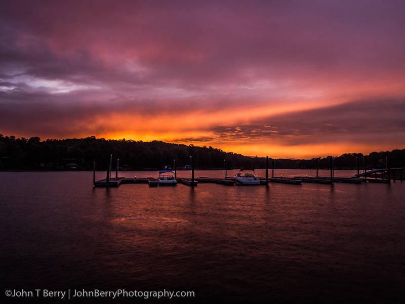 Sunset over Smith Mountain Lake Virginia.