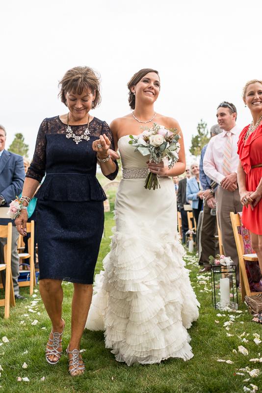 Spruce Mountain Ranch Wedding Photography bride walking down aisle
