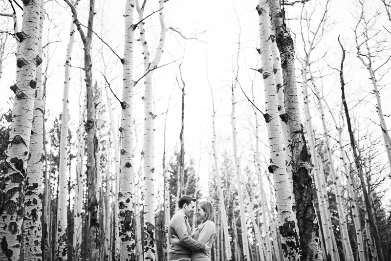 Evergreen Engagement Photos aspen trees