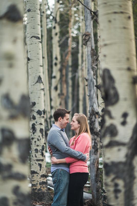 Evergreen Engagement Photos aspen trees