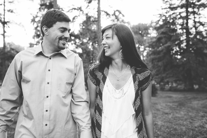 Denver Engagement Photographer black and white laughing couple