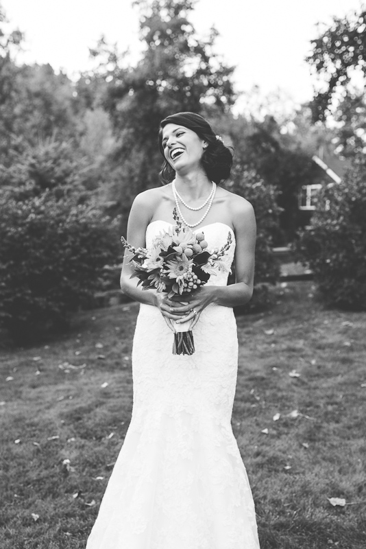 Boulder Wedding Photography laughing bride black and white