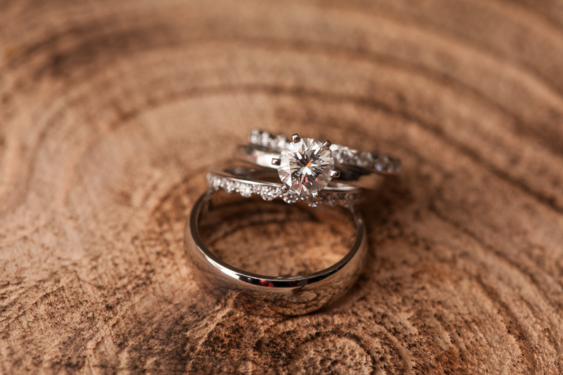 Boulder Wedding Photography rings on wood