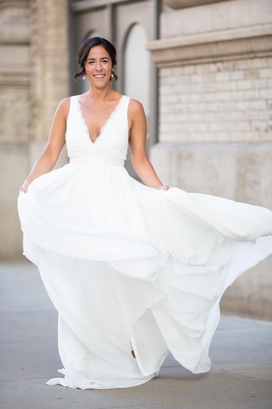 Denver Wedding Photography History Colorado dress blowing
