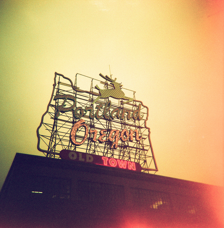 portland sign expired cross processed holga film