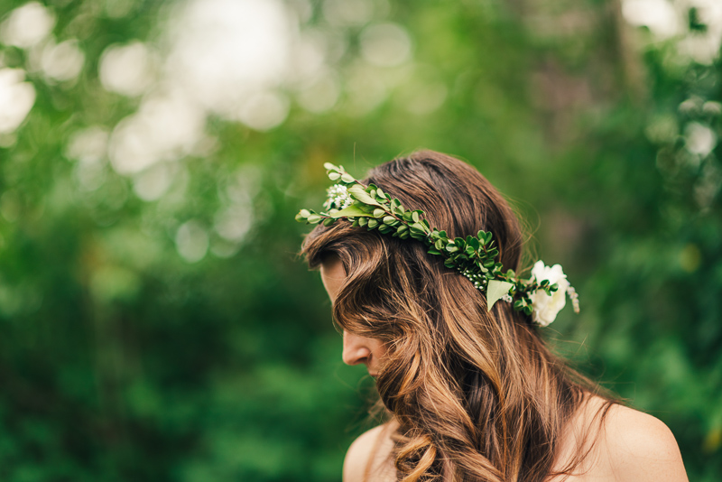 Denver Wedding Photography leaf and flower hair piece