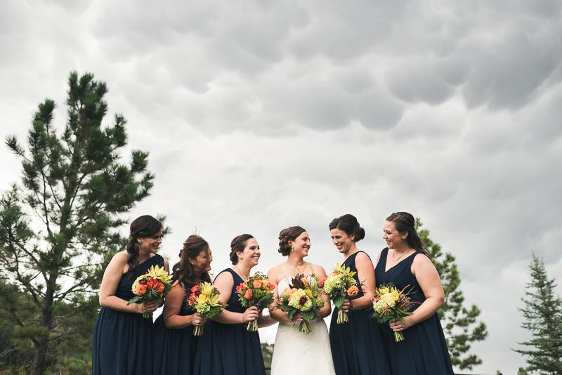 Denver Wedding Photography bridesmaids mamatus clouds