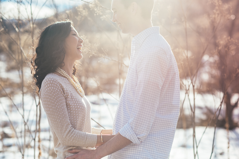 Denver engagement photography sun and snow