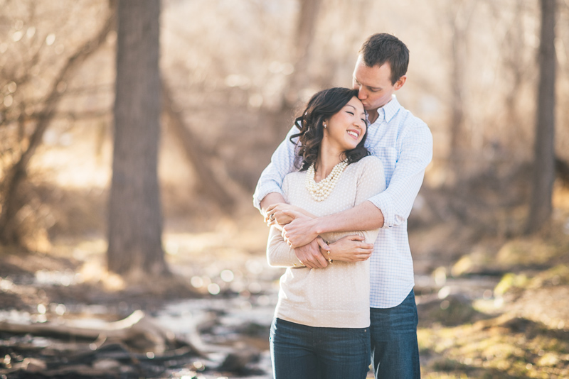 Denver engagement photography trees and river