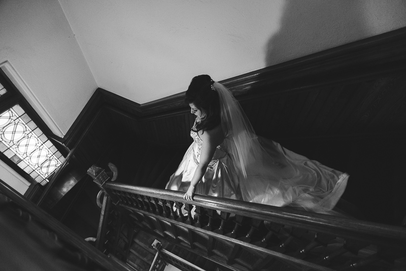 denver wedding photography bride in stairwell trinity church