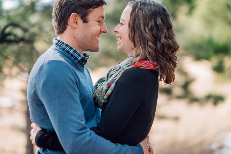 Evergreen Engagement Photography laughing couple