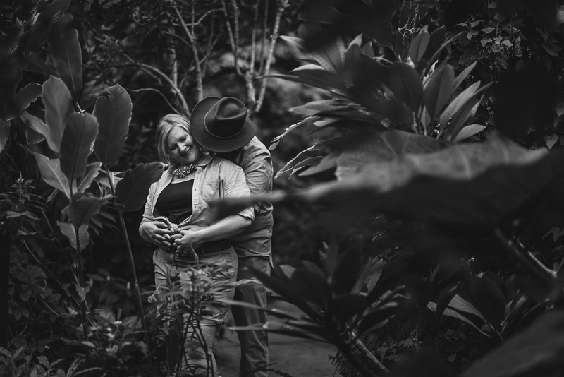 Denver Engagement Photography black and white jungle