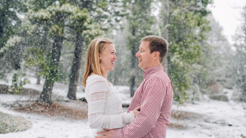 Boulder Engagement Photography falling snow