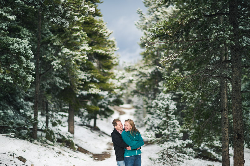 Boulder Engagement Photography dramatic trees