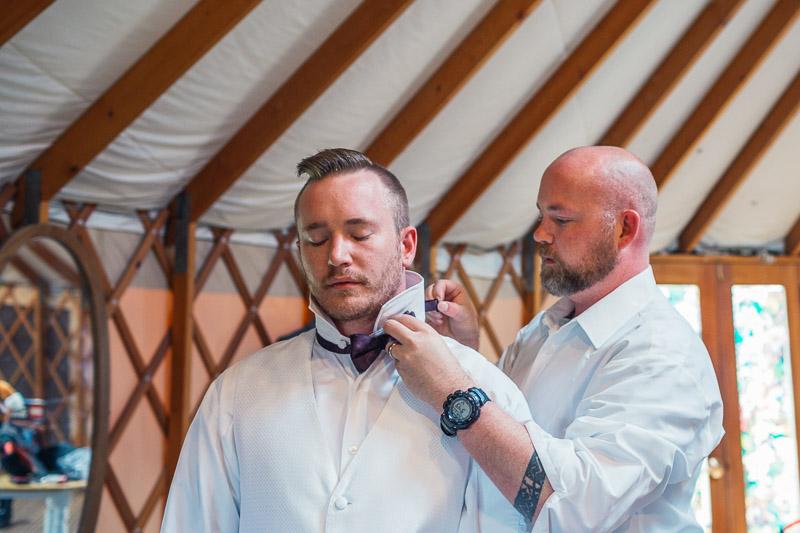 chatfield botanic gardens wedding photography groom getting ready