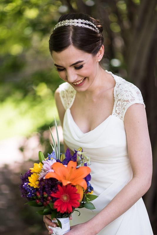chatfield botanic gardens wedding photography laughing bride
