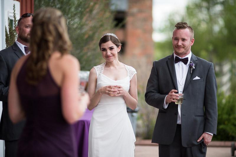 chatfield botanic gardens wedding photography smiling toast