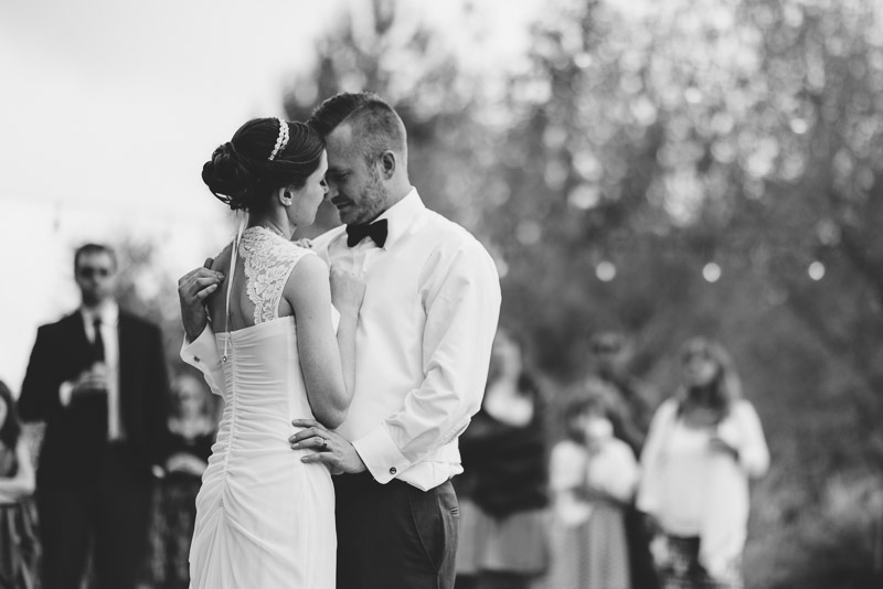 chatfield botanic gardens wedding photography first dance black and white
