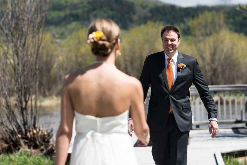 steamboat springs wedding photography first look smile
