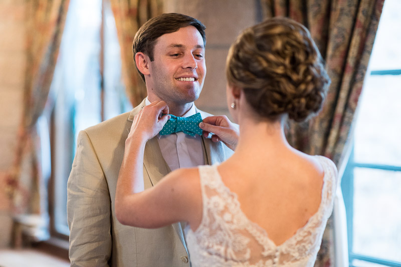 Denver Wedding Photography Cherokee Ranch and Castle bowtie help