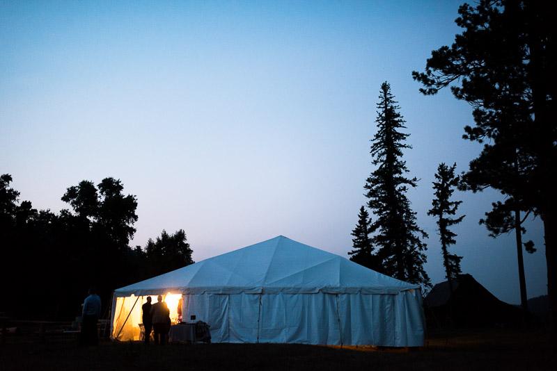 Cuchara Wedding Photographer  sunset party tent