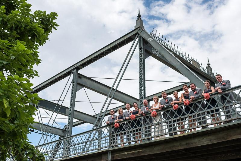 Denver athletic club wedding photo on bridge