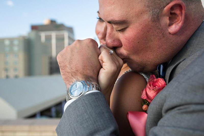 Denver athletic club wedding kiss