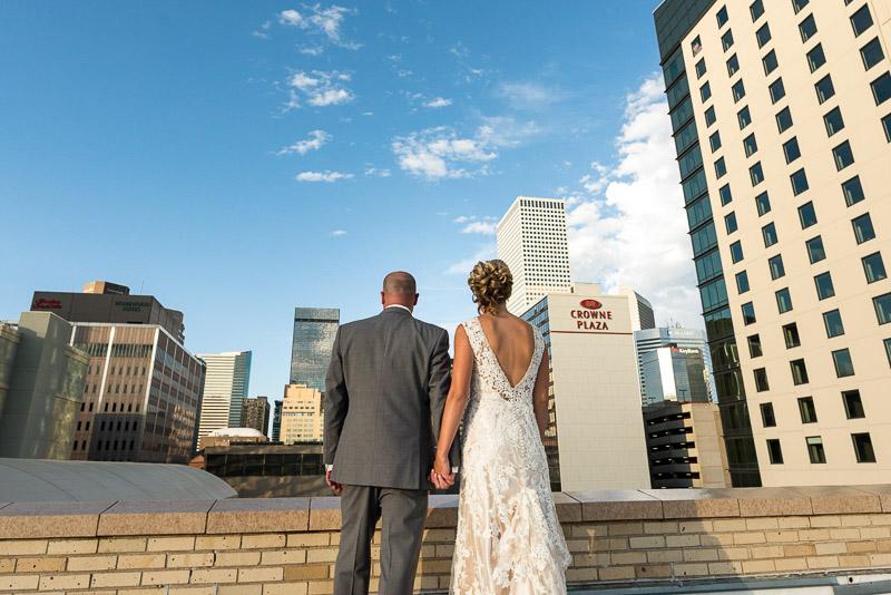 Denver athletic club wedding rooftop bride and groom