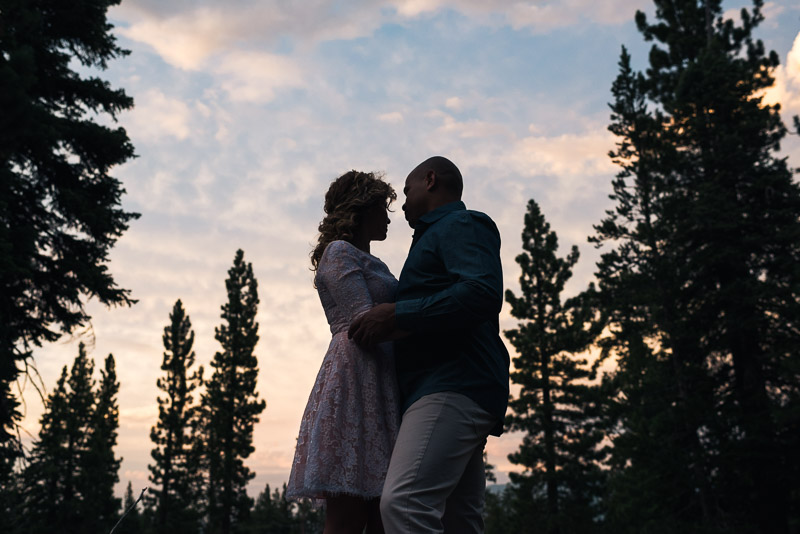 Tahoe Engagement Photography sunset silhouette