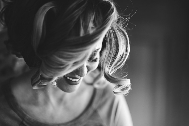 Lake Tahoe Wedding Photographer laughing bride black and white