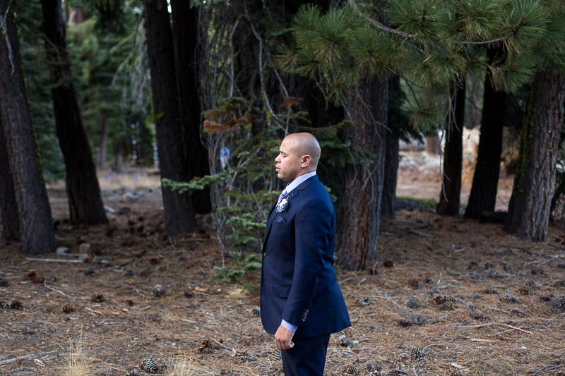 Lake Tahoe Wedding Photographer groom first look