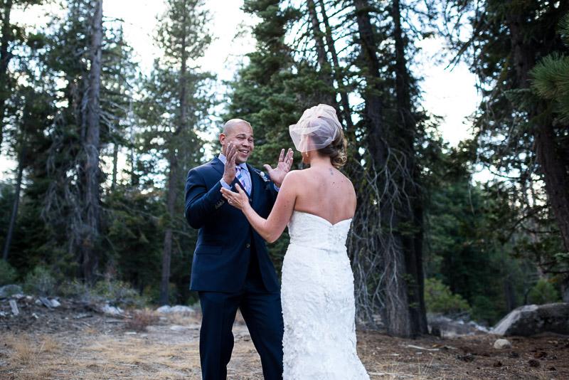 Lake Tahoe Wedding Photographer surprised groom
