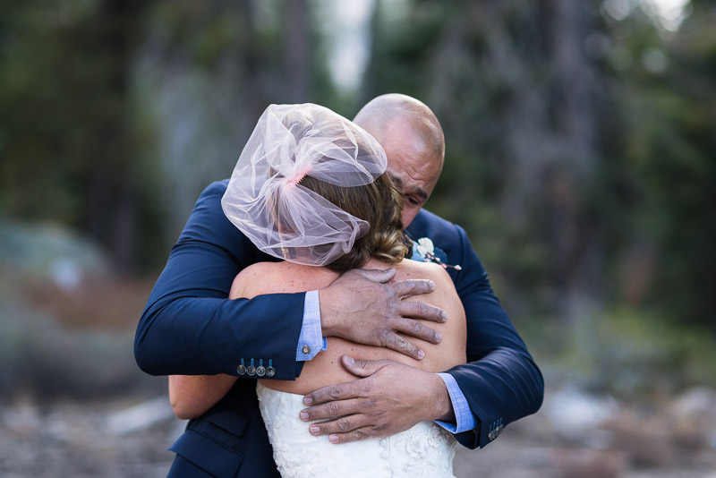 Lake Tahoe Wedding Photographer first look crying groom