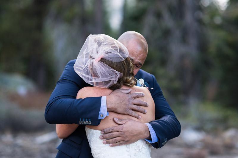 Lake Tahoe Wedding Photographer first look crying groom