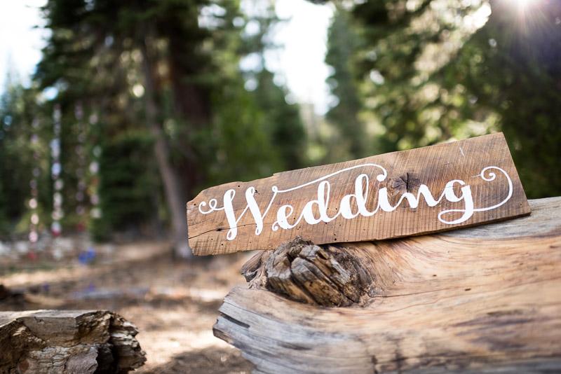 Lake Tahoe Wedding Photographer wood wedding sign
