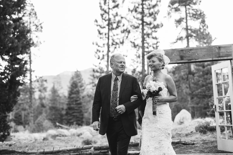 Lake Tahoe Wedding Photographer bride and father black and white