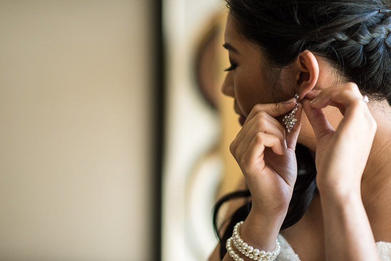 San Francisco Wedding Photography bride earrings