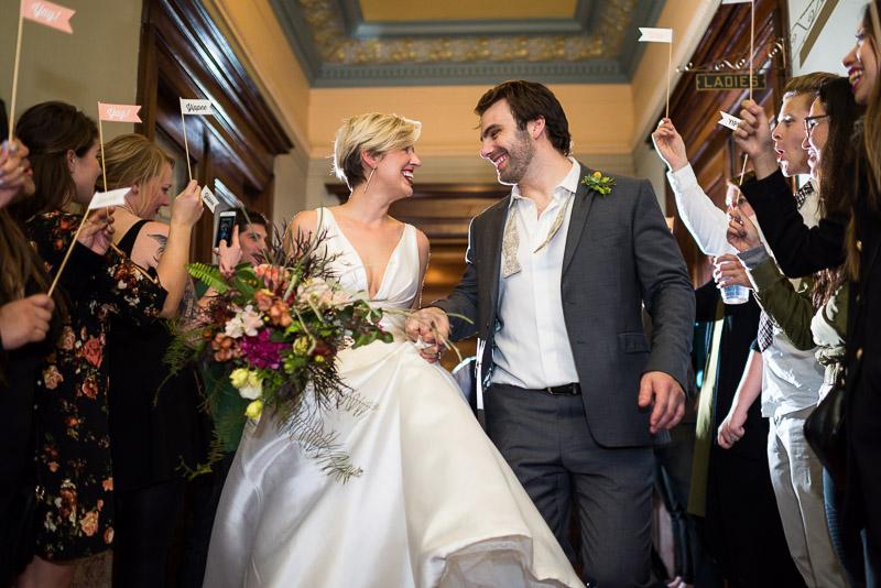 bride and groom sendoff