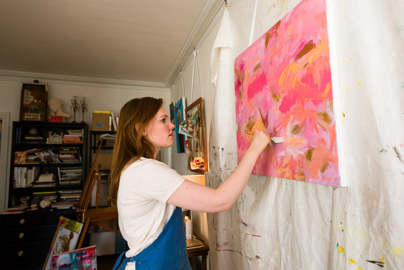 Chloe san francisco abstract expressionism painter in studio