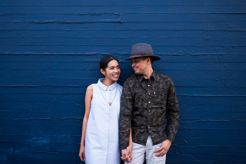 San Francisco Engagement Photography Mission District blue wall