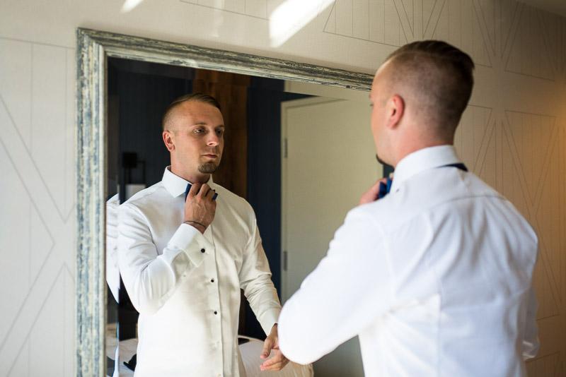 San Francisco Wedding Photographer Argonaut Hotel groom bowtie