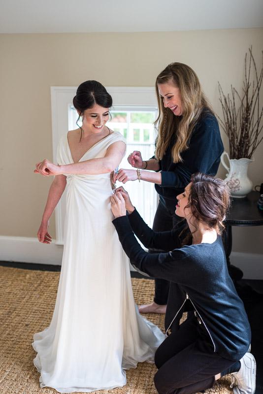 Strauss home ranch wedding bride getting dressed