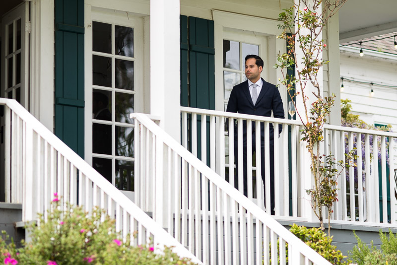 Strauss home ranch wedding groom on porch