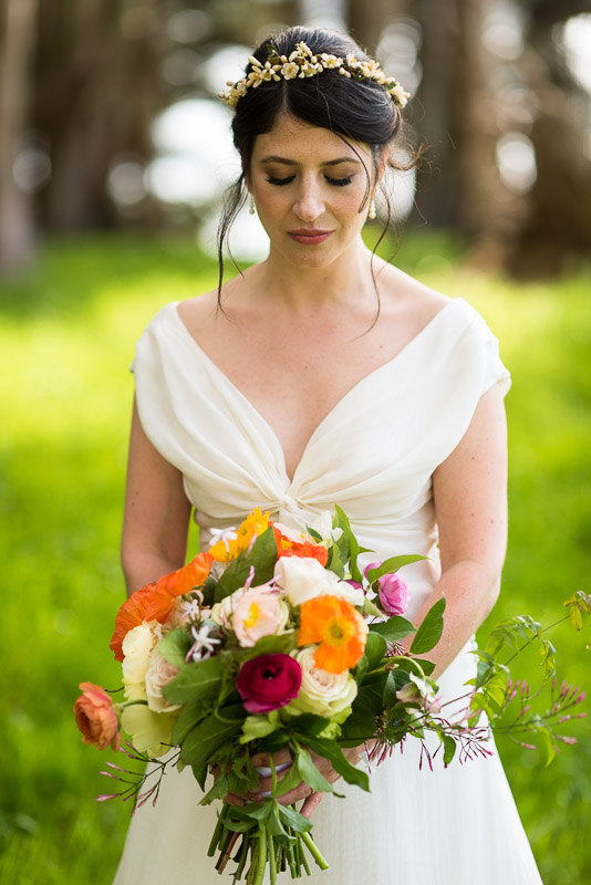 Strauss home ranch wedding bride with bouquet
