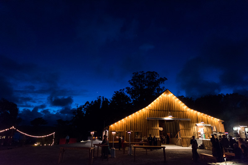 Strauss home ranch wedding barn at night