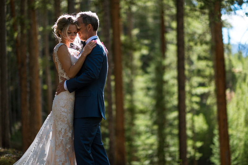 Vail Wedding Photography Camp Hale bride and groom in forest