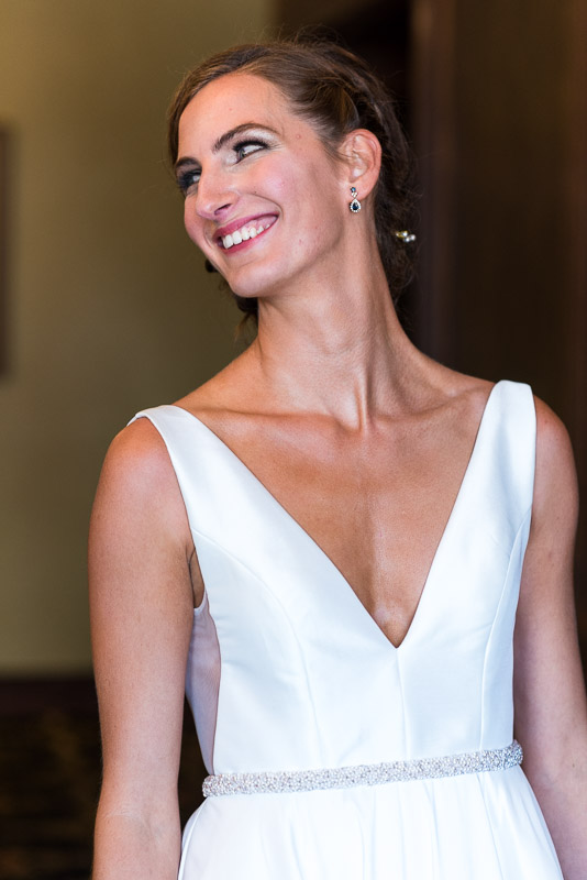 denver athletic club wedding photography bride smiling